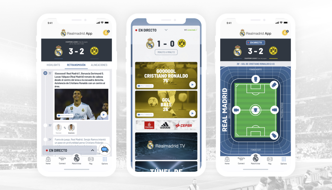 Real Madrid App Oficial diseño interfaz usabilidad